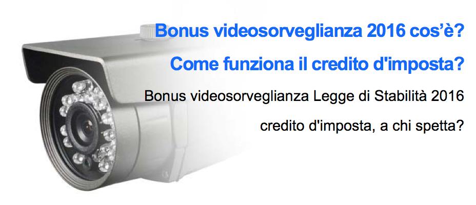 Bonus Videosorveglianza 2016